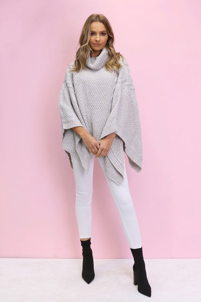 Madison Square - Bells Roll Out Poncho - Grey
