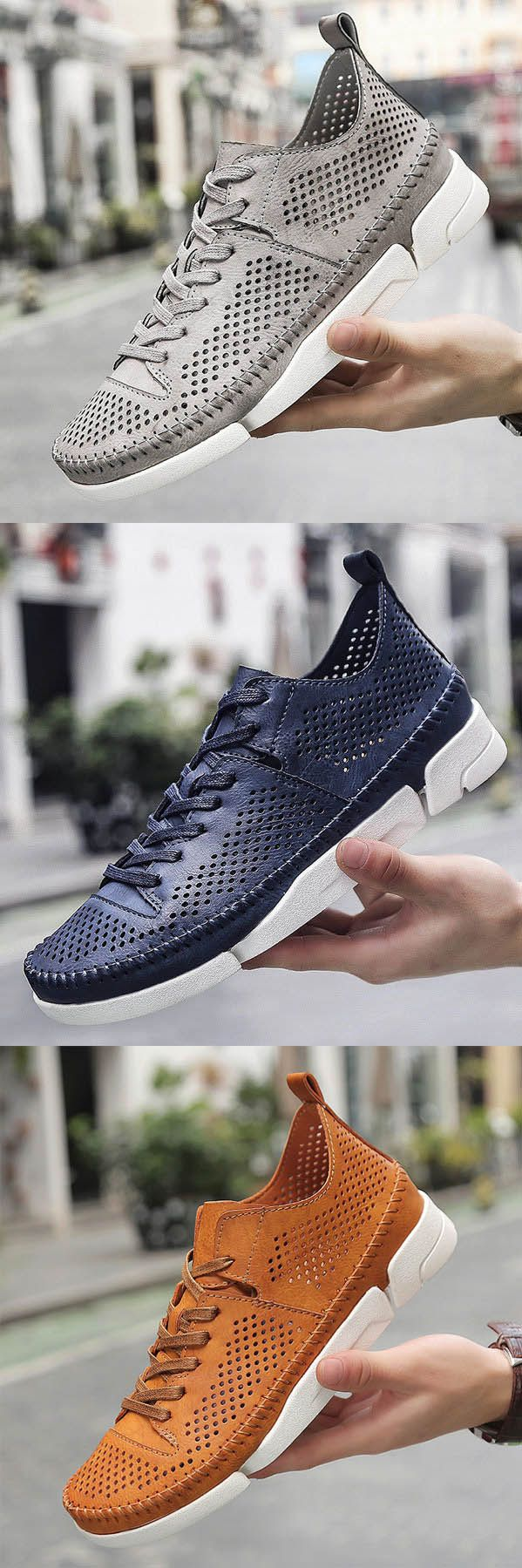Men Hand Stitching Hollow Out Breathable Skateboarding Shoes Casual Sneakers