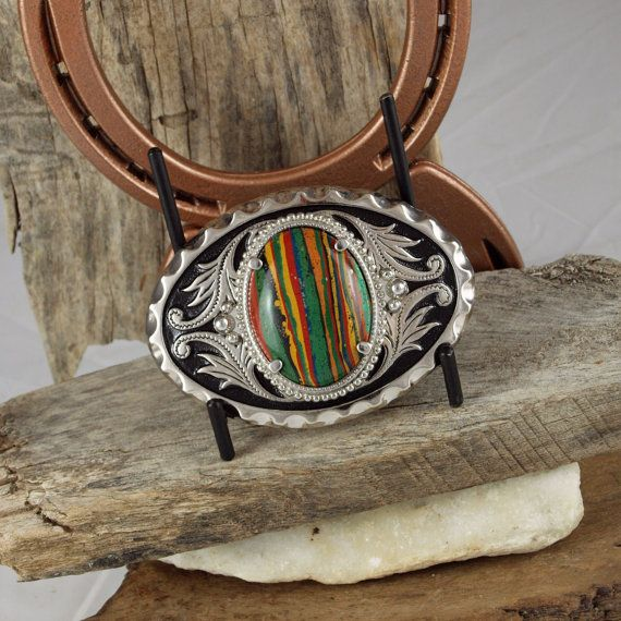 Western Belt Buckle Rainbow Calsilica Buckle by CJsRocksGems