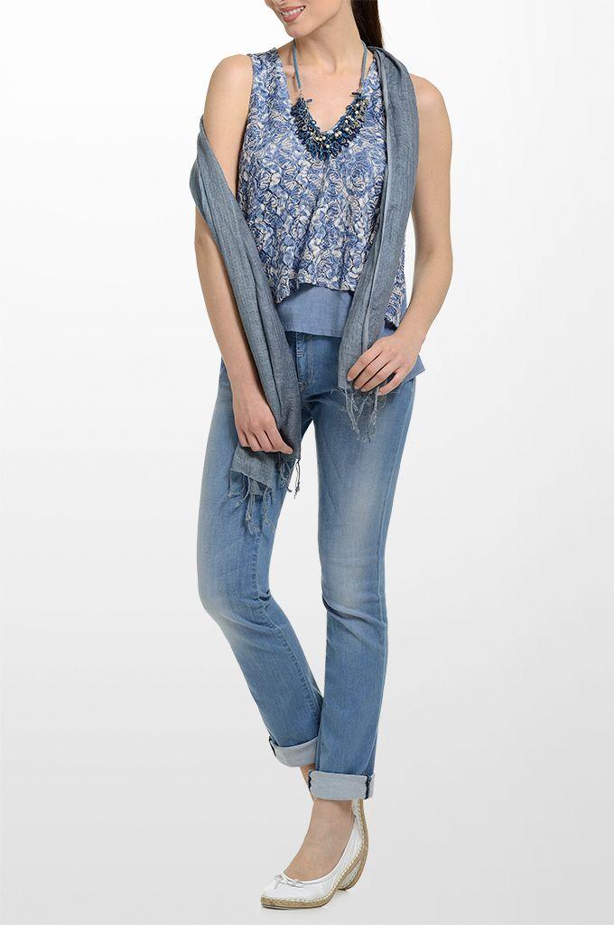 Sarah Lawrence - asymmetrical sleeveless double layered top, straight leg denim pant, linen scarf, beaded necklace.