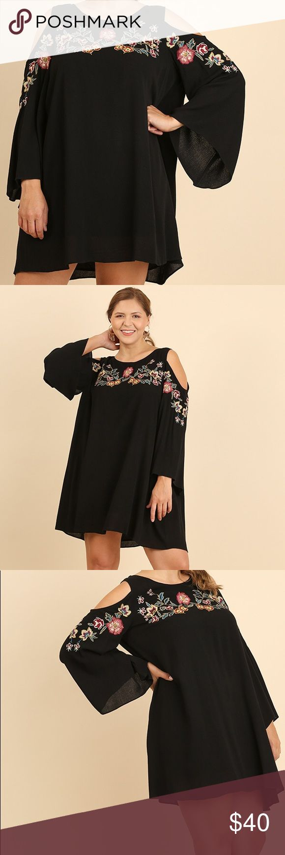 UMGEE Black Tunic Dress Embroidered Size XL New New. Beautiful floral embroidery. Cold/open shoulders. Lined. One keyhole button on back. Smoke free home. I ship quickly. Happy Shopping! Umgee Dresses