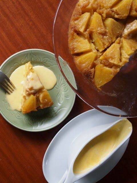 Pineapple upside down cake with creme anglaise from 'The Caker' cookbook by Jordan Rondel