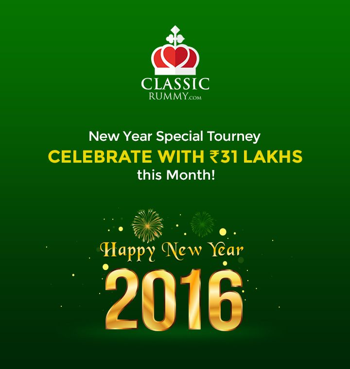 Let's celebrate all new beginnings with a fantastic offer this month.  Participate and win a total of ₹ 31 lakhs cash reward.   #rummy #classicrummy #newyear #offer #cashrewards #cash #rummytourney #newyeartourney #tournament #rummytournament
