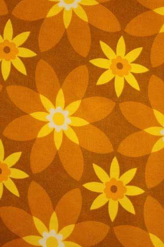 Retro jaren 70 gordijn stof okergeel http www for Interieur 70 jaren