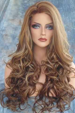 $16.31 Stunning Dark Brown Mixed Light Blonde Capless Fluffy Curly Side Parting Long Synthetic Wig For Women - COLORMIX