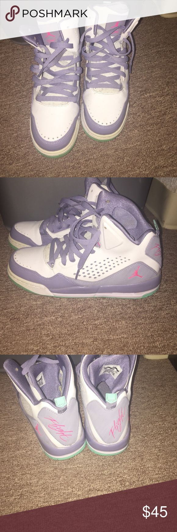 Jordan flights for girls White lavender and teal Jordan Flights for girls. No great condition. Barely touched. Girls 7Y but can be worn easily by women Jordan Shoes Sneakers