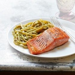 Seared Salmon with Pesto Fettuccine for Two  - EatingWell.com