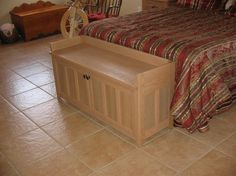 Craftsman style storage bench. Built with red oak, this bench makes a beautiful addition to any bedroom. Store your extra pillows, blankets, comforters etc. This simple yet elegant design will become a family heirloom.