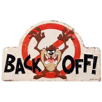 Tazmanian Devil Back Off Embossed Tin Sign
