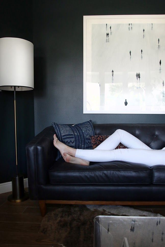 Our New Modern Chesterfield Black Leather Sofa | Chris Loves Julia