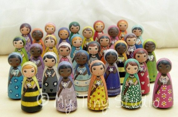 Tiny Muse Fairy Green Wooden Peg People Doll Green by mytinystudio, $17.50