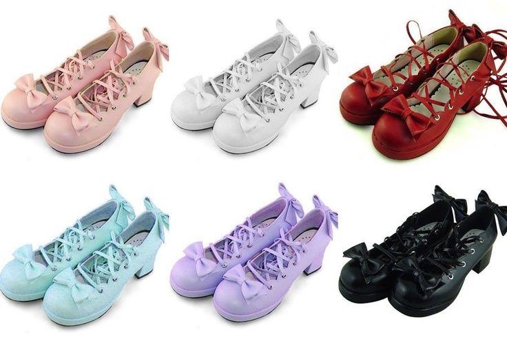 rot lila blau schwarz weiß pink lolita Shoes damen-Schuhe gothic high-heels goth