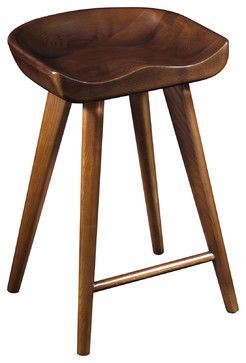 Exceptional Stellar Wood Stool In Walnut Modern Bar Stools And Counter Stools
