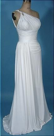White 1950's heavy jersey one-shouldered Grecian gown.
