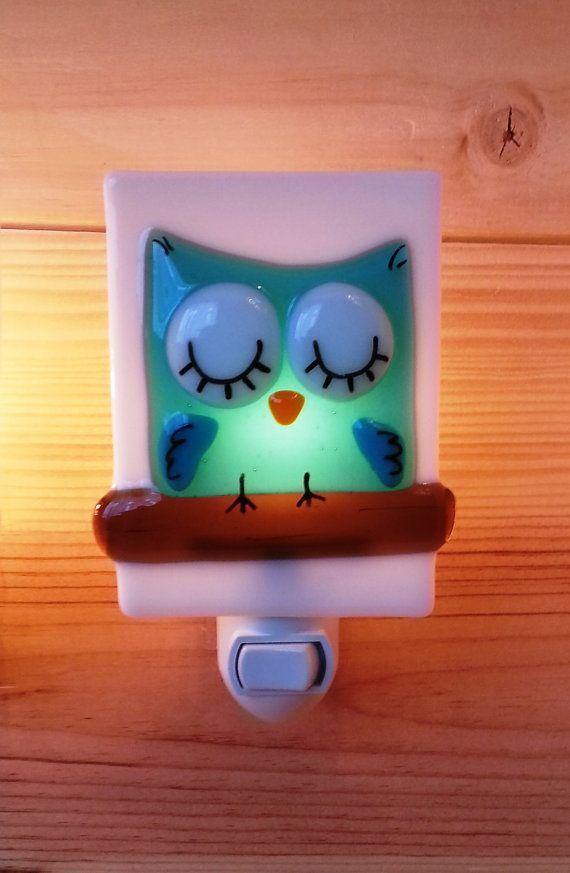 Nightlight owl, fused glass, turquoise, baby, room decoration, nursery, shower gift, kid room, children