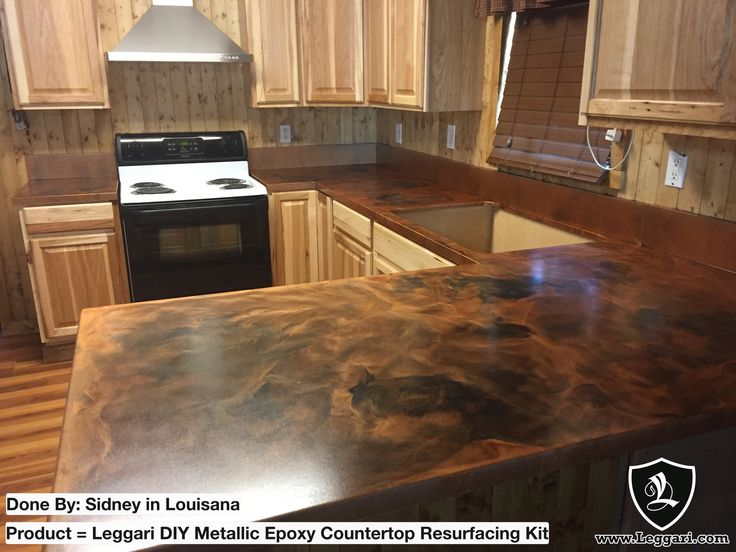 Epoxy Countertop Kit Base Brass Highlights Black