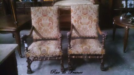 FRENCH ANTIQUE CARVED WALNUT LION HEAD BARONIAL CHAIRS