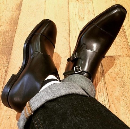 Handmade Men black Oxford toe monk boot, Men formal leather boot, Men dress boot - Boots