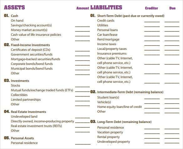 Balance Sheet Templates Balance Sheet Template Balance Sheet