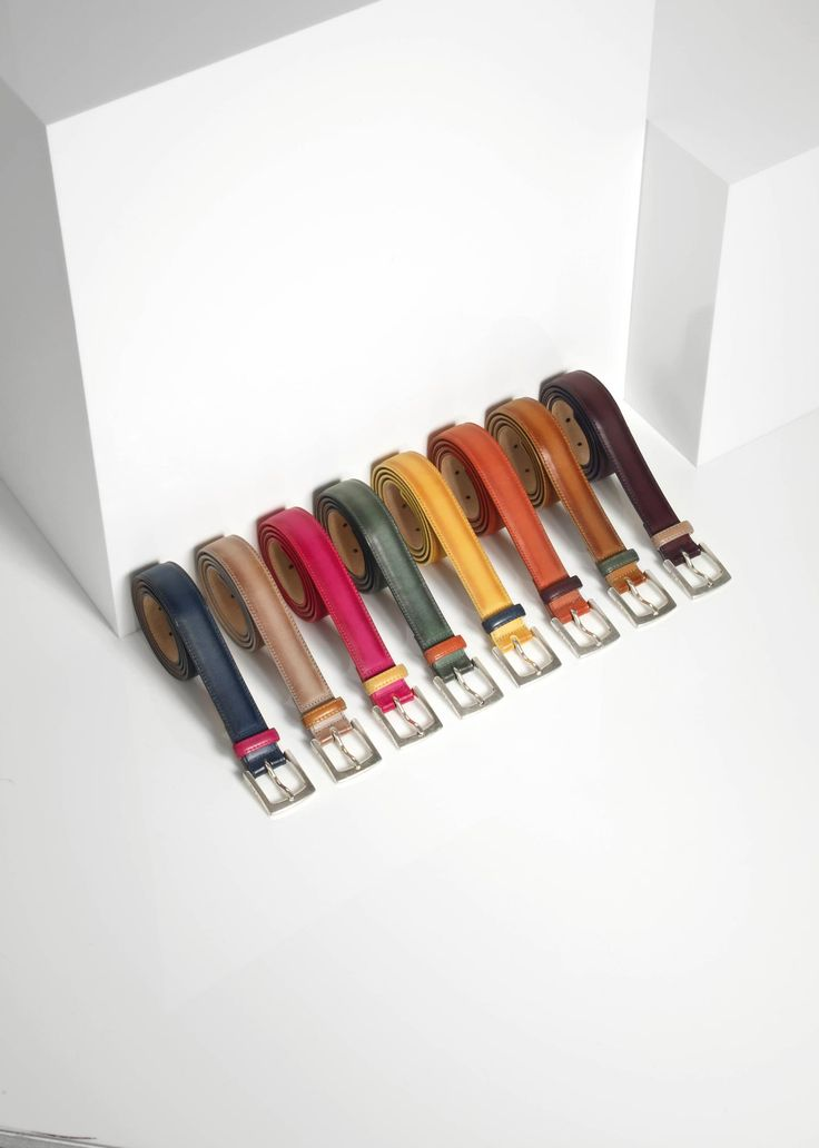 Paul Smith men's colour pop burnished leather suit belts