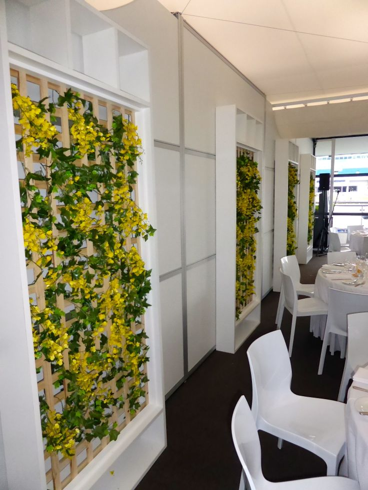 Eternal Events - Corporate Colours - Sit down Function - Trellis with Yellow and Blue Floral