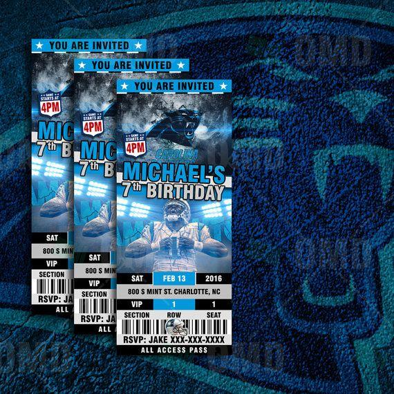 Carolina Panthers Sports Party Invitation 2.5x6 by sportsinvites