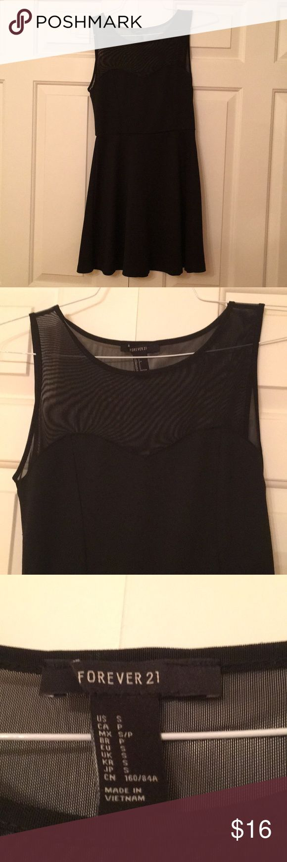 Sweetheart Illusion Neckline Dress Black dress with sweetheart neckline and high-neck illusion. Flared skirt. Only worn once. Size S. Perfect for holiday parties Forever 21 Dresses Mini