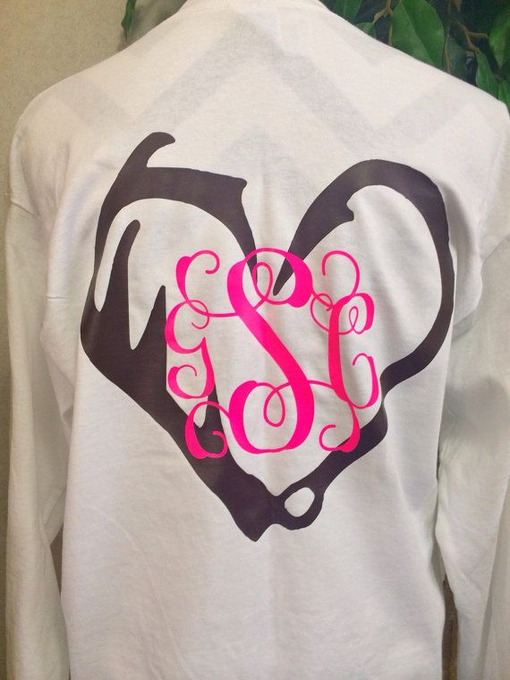 Antler fish hook monogram heart by carolinasilhouettes on for Initials on dress shirts