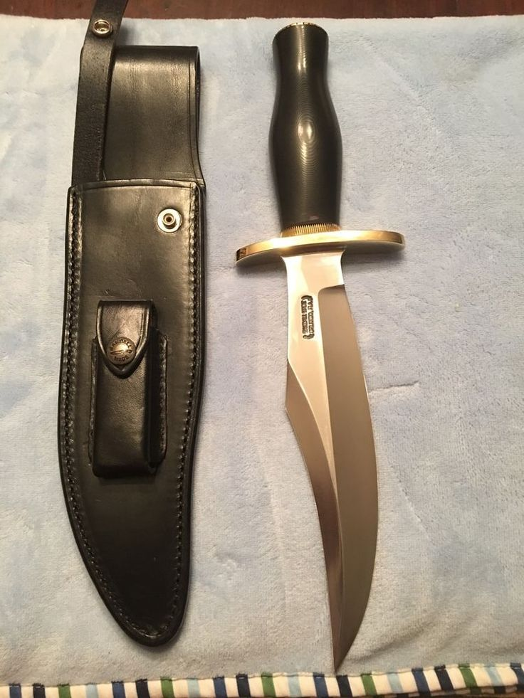 "Randall knives knife bear bowie 12-8""carbon blade, black Handle comes with black Randall sheath unused,uncarried,unsharpened. 
