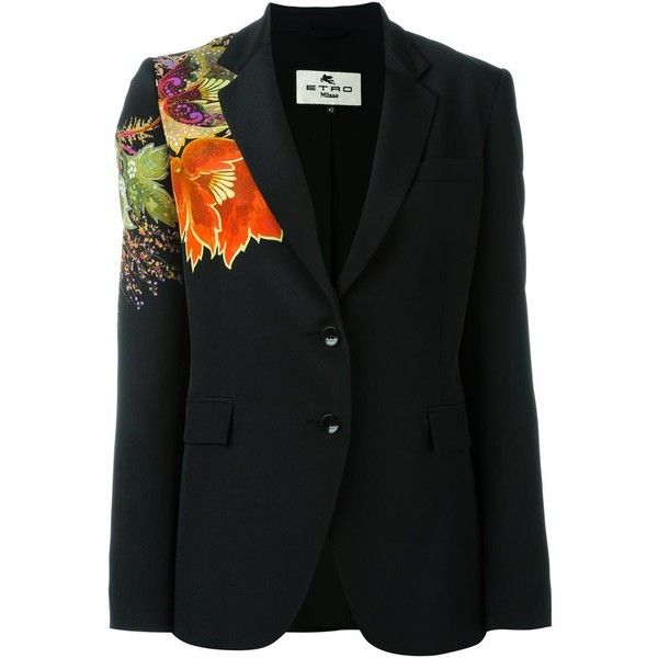 FLORAL PRINT DETAIL BLAZER ETRO エトロ ❤ liked on Polyvore featuring outerwear, jackets, blazers, floral blazer, flower print blazer, etro, patterned blazer and floral print blazer