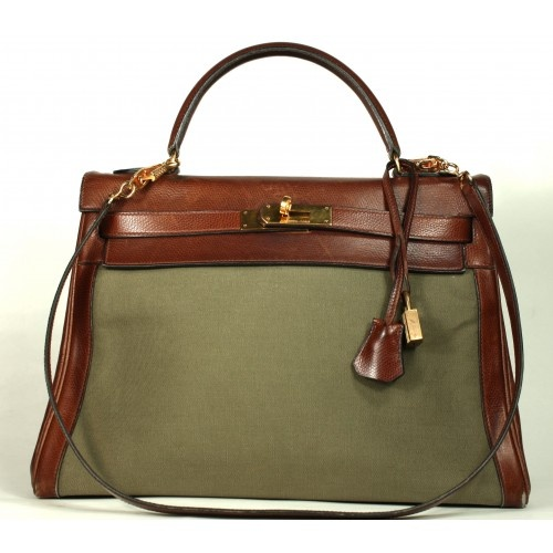 Hermes Khaki Green Canvas & Barenia 28cm Kelly Bag