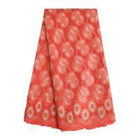 SL0421 African Coral Color Swiss Voile Lace Fabric With Stones High Quality Polished Cotton Lace for Nigerian Cotton Lace Sewing