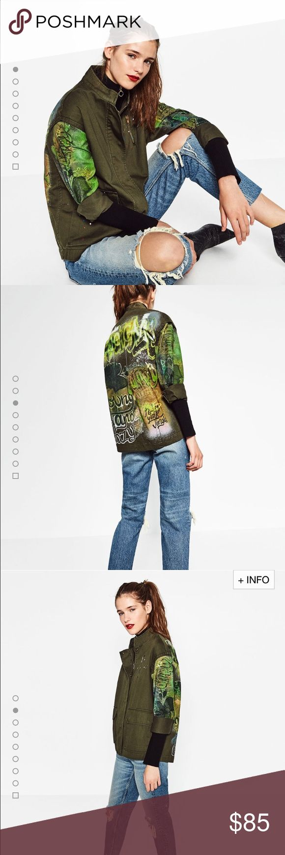 Zara Graffiti Parka, brand new  Woman collection, one of the best parkas Zara Jackets & Coats