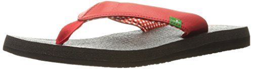 Sanuk Women's W Yoga Mat Flip Flop, Bright Red, 5 M US Sanuk I LOVE LOVE LOVE these sandals! I keep coming back to them and repurchasing. I always buy them for myself and as gifts. The reason why I keep returning is due to the complete comfort and support they hold. I can wear them all day anywhere. I have actually went hiking in these babies and did not slip a bit. They are not thin, the base will completely sustain the lifespan. I appreciate how they are not tight like where they leave…