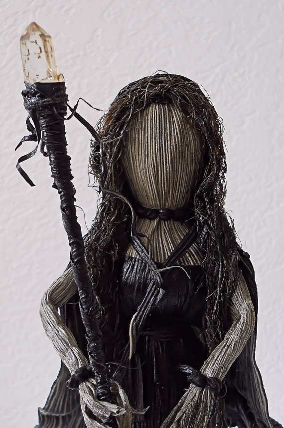 Unusual Dark Hooded Corn Husk Doll with Quartz by LacyLeafStudio, $60.00