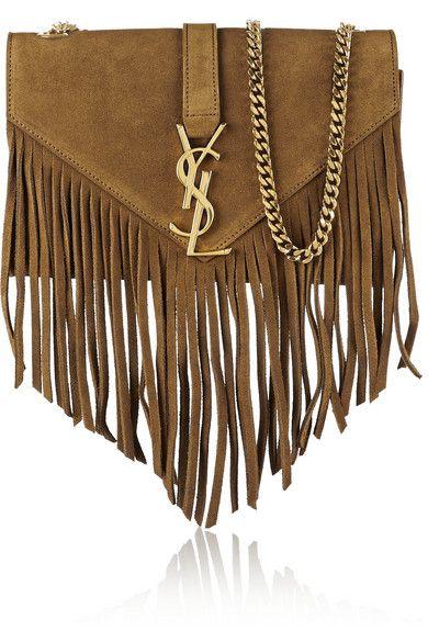 Saint Laurent Monogramme fringed suede shoulder bag #SaintLaurent