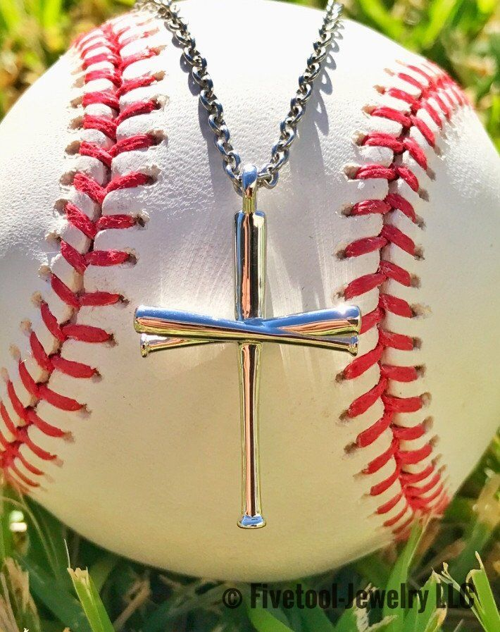 Fivetool Jewelry Baseball Bat Cross Pendant And Chain  At Five Tool Jewelry We Specialize In