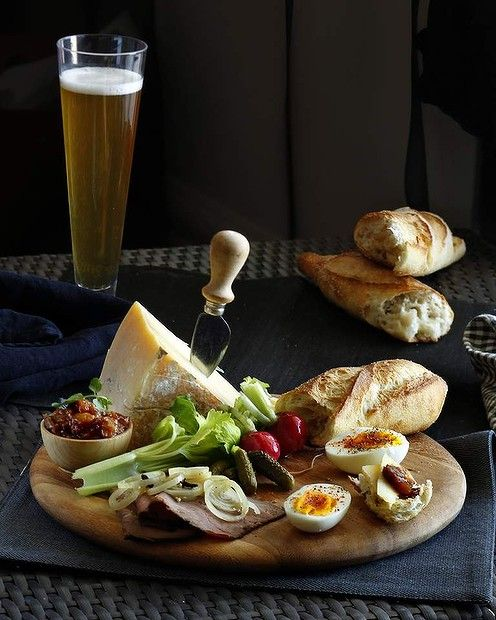 Ploughman's lunch. Obviously watch the bread and cheese portions.