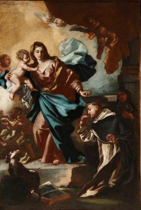 The Madonna and Child Presenting Saint Dominic with the Rosary / La Virgen y el Niño dando el rosario a Santo Domingo // c.1735-1740 // Francesco de Mura // National Trust, Hatchlands