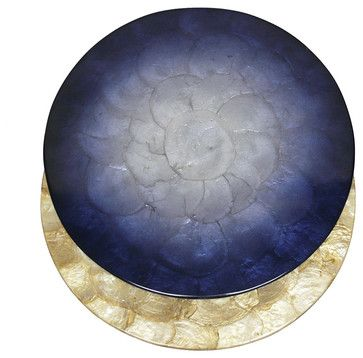 Reversible Capiz Placemat Collection, Midnight Blue/Gold - transitional - Placemats - Bliss Home & Design