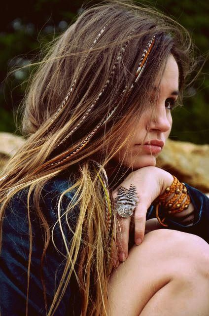 Messy Hair w/ Feathers | Feather Ring | Braided Studded Braclet