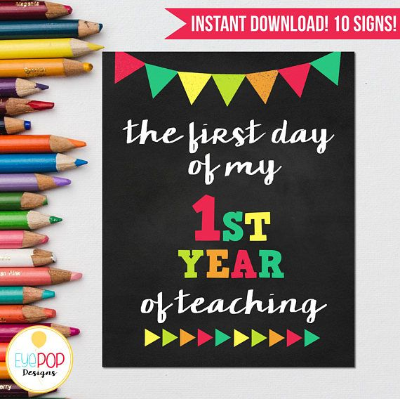 First Day of School Signs, Teacher, Homeschool, Homeschooling, Sign Pack, First Year of Teaching, Photo Prop, Printable, 1st Day, Chalkboard