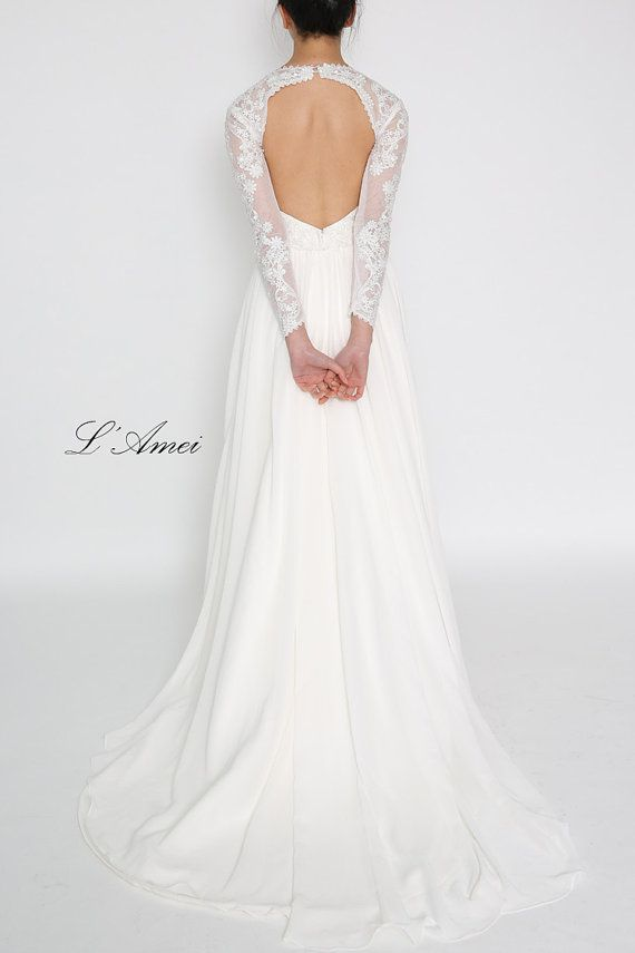 Long lace sleeve wedding dress with stunning low back and door LAmei