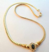 Vintage Style 18K Gold Plated Sapphire Set Panel And Herringbone Chain Necklace By Daxon.