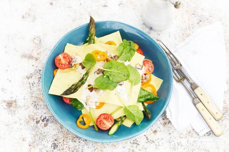 Kijk wat een lekker recept ik heb gevonden op Allerhande! Open lasagne met asperges & blauwaderkaas