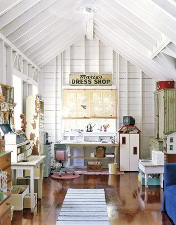 Attic office!  I have been wondering what to do with our attic and this is it!!  I could do all my crafty/photo stuff upstairs awasy from it all!!  LOVE THIS!!
