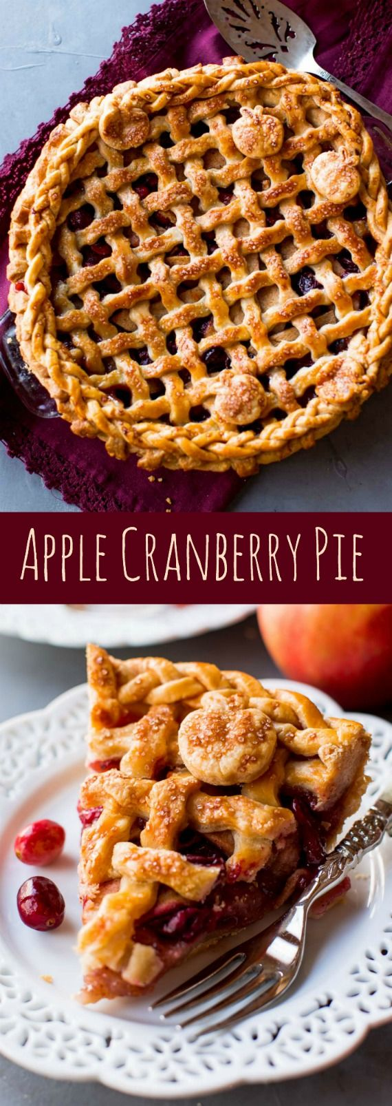 Sweet apples, tart cranberries, and cinnamon spice are the perfect balance in this incredible apple cranberry pie recipe! Recipe on sallysbakingaddic...