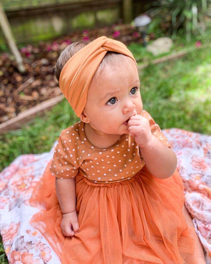 Camel: Turban Headband - newborn baby turban headband, head-wrap, camel, cognac, neutral