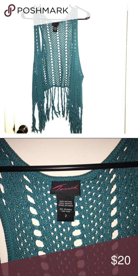 Torrid Crochet vest turquoise with fringe size 2 Turquoise crochet vest from torrid with long fringe. Prefect condition. torrid Jackets & Coats Vests