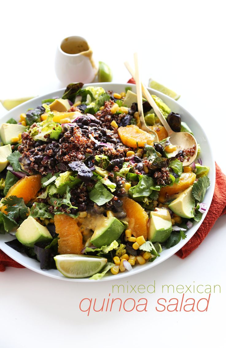 HEALTHY, filling Mexican Salad with Quinoa, Black Beans, Corn and a Creamy Orange Chili Cilantro Dressing!